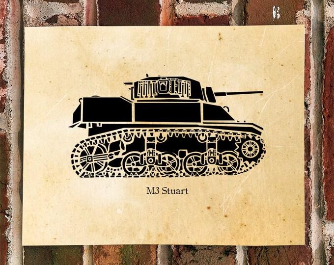 KillerBeeMoto: Limited Print M3 Stuart World War Two Tank Print 1 of 100