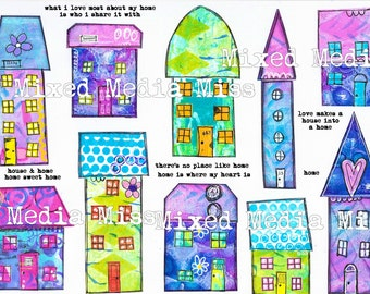 Funky Whimsical Houses 1 - Collage Elements Mixed Media digital download - Art Journal - Scrapbooking