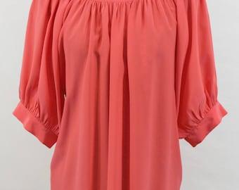 Red 100% Silk Blouse.  Fall blouse, pretty blouse, unique blouse, red top, silk top, red top, dressy blouse, feminine top, feminine top.