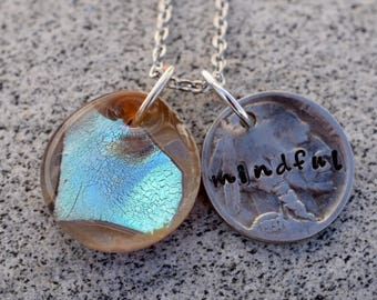 Dichroic Glass Pendant Boro Lampwork Stamped Coin Necklace - Mindful