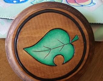 Animal Crossing Leaf Wood Burned Waterproof Coaster
