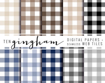 gingham digital paper and seamless web tiles - neutral gingham plaid - personal and commercial use
