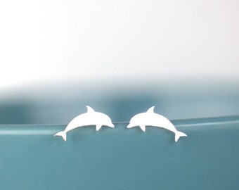 Dolphin Stud Earrings in sterling silver, Nautical jewelry, beach lover earrings