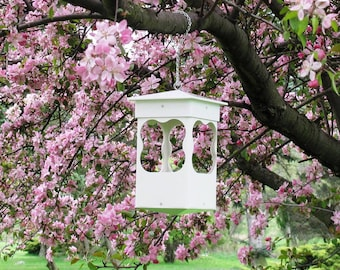 Outdoor vinyl bird feeder tray feeder PVC decorative low maintenance Affordable EZ Clean hanging Bird feeder -Dreamy style- Made in the USA