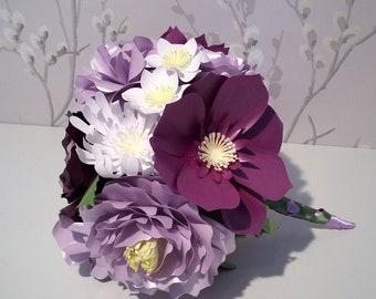 Purple and Mauve Paper Posy/Bouquet