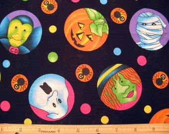 Fat Quarter Halloween Geist #3034 bunte Monster Ghost Mumie Hexe Vampir auf schwarze Trick or Treat - Federn Industries, Inc. - OOP