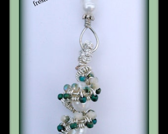 Beaded wire wrap weave spiral with freshwater pearls-pendant