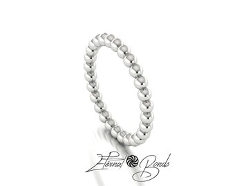 Solid 14k White Gold Bubble Stacking Ring, Bead Ring, , Beaded Ring, Thumb Ring, Midi Ring, Knuckle Ring