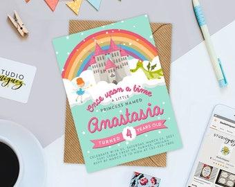 """Rainbow Princess Birthday Printable 5"""" x 7"""" Invitation, Fairytale Princess Birthday Invitation, Princess Birthday Invitation"""