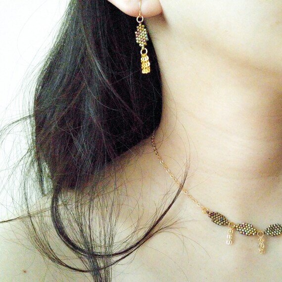 Gold Leaf Earrings, Gold Tassel Earrings, Bohemian Gold Earrings, Beaded Gold Earrings, Dangle Gold Earrings, Dainty Earrings,
