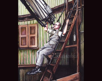 The Astronomer, Original Painting, Astronomy, Space, Science, History, Telescope, Pipe Smoke, Observatory, 19th Century, Venus, Todd