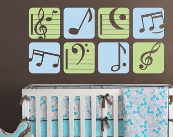 """Wall decal BOXED MUSIC NOTES Colorful vinyl art stickers decor for nursery boys & girls byGraphicsMesh (Set of 8 - 13.5"""" each)"""