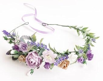 Bridal flower crown, Flower crown, Bridal provence floral crown lavender flower crown, wedding crown, bridal floral crown lilac flower crown