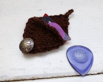 Guitar pick cozy, guitar pick holder, brown pick holder, knit pick holder, ready to ship, hand knit, musician's gift, music student, rocker