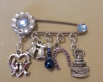 Handmade, Unique Bridal Keepsake/Garter Pin with Swarovski Crystals and Pearls