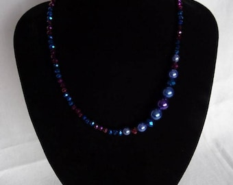 Blue/purple necklace & matching bracelet (optional), magnetic clasp on necklace, UK shop