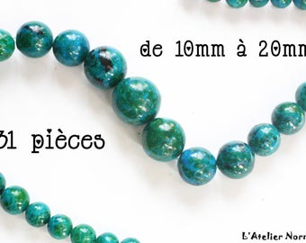 31 ø10mm ø20mm Chrysocolla round beads