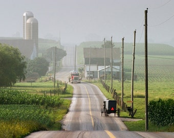 Amish Horse Buggy confronts the Modern World with Semi-Truck in Rural Lancaster County Pennsylvania - A Fine Art Landscape Photograph