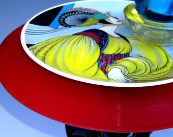 VOGUE Collector Plate Serving Votive Candle Holder Art Pedestal Vintage Red Vinyl 78 Record Cast Iron Base Renaissance Fashion Tabletop Art