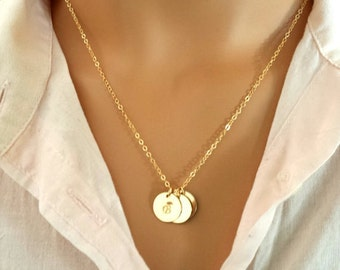 Initial Necklace, Personalized Necklace, Initial Disc Necklace, Personalized Jewelry, Monogram, Mother Sister personalized gift for mother