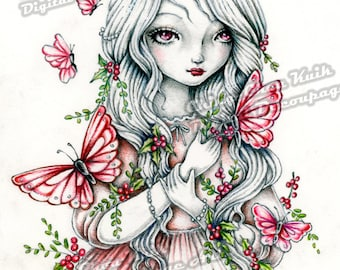 Pre-Colored- Butterflies and Berries - Instant Download Digital Colored Decoupage Art / Fantasy Art Fairy Girl by Ching-Chou Kuik