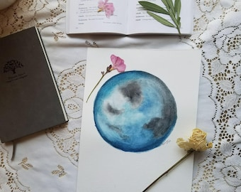 blue moon original watercolor