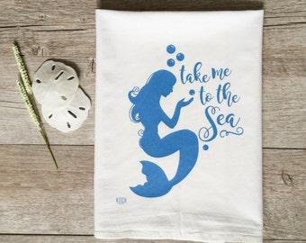 Tea Towel - Mermaid Tea Towel Mermaid Towel Kitchen Towel Coastal Decor Beach Decor Nautical Decor Nautical Tea Towel Kitchen Decor Home