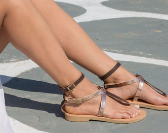Greek Leather sandals,Handmade sandals,Rose gold and brown,Women shoes,Triskelion,CLEOPATRA