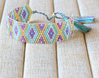Friendship Beaded Bracelet. Yoga Bracelet. Boho Jewelry. Aztec Bracelet. Ethnic Bracelet. Tassel Bracelet.