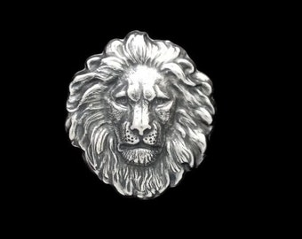 60OFFSALE Silver Plated Brass Regal Lion Head Large Stamping 42mm x 48mm Perfect for Steampunk Art Made in the USA Brass