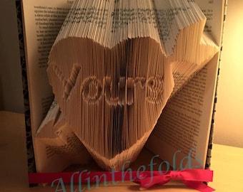 Arrow Heart 'yours'  bookfolding *pattern*