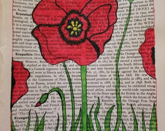 Summer Breezes Red Poppy Pen and Ink Print