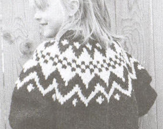 eweCanknit pattern 067: Geometric Fairisle child's pullover sizes 2-8 uses chunky weight yarn