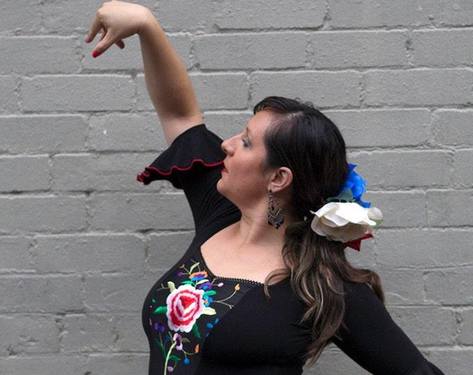 CORAZON Flamenco Top in black with multi coloured embroidery