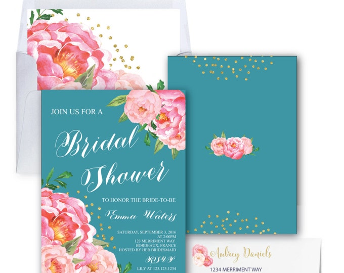 Bridal Shower Invitation // Teal // Teal Blue // Peonies // Peony // Bridal Invite // Pink // Blush // Gold Glitter // BORDEAUX COLLECTION