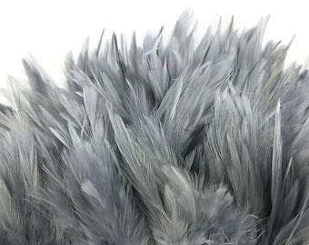 Rooster Feathers, 4 Inch Strip - DARK GREY Strung Chinese Rooster Saddle Feathers : 4013