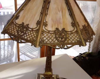 Table Lamp Slag Glass Vintage 1930's Lighting