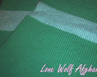 Hand knitted  Emerald/Luminous Green baby afghan