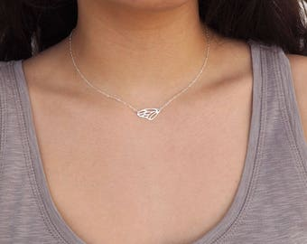 Mother's Day Gift, Sterling Silver Butterfly Necklace, Silver Sideways Necklace, Sterling Silver Necklace