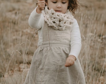 Linen Pinny Dress with Hand woven Bib