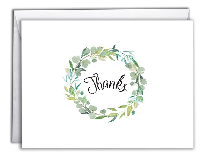 Thank You Note Cards   Boxed Set 10 Thank You Cards   Fresh Botanical Design