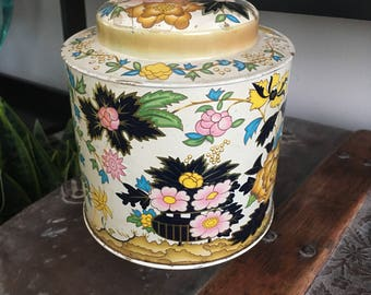 Japanese flower tin