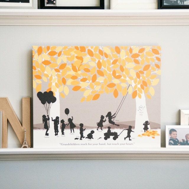 Grandparent Silhouette Art Gift Grandchildren Art Print