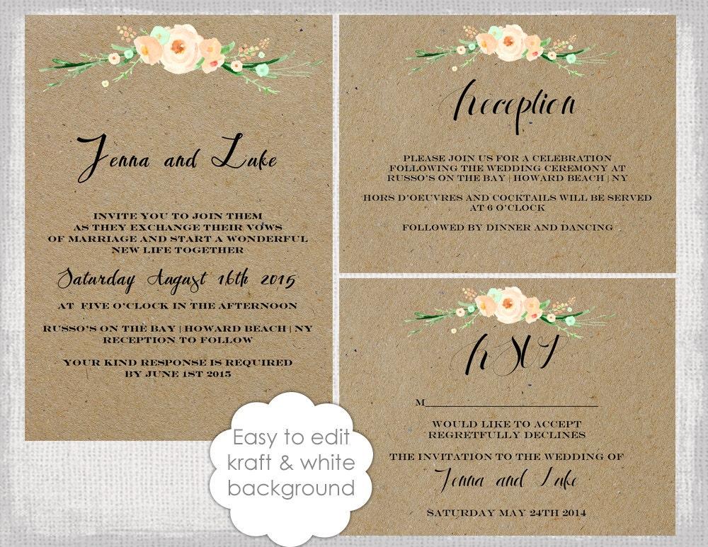 Rustic Wedding invitation template set DIY Rustic