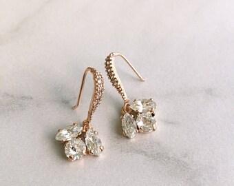 Rose gold bridesmaids earrings