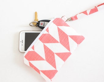 Coral and White Wristlet - Coral Wristlet - Cell Phone Purse - Cell Phone Pouch - Herringbone Wristlet