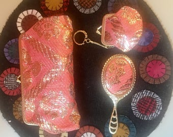 Vintage Coral and Gold Clutch Set