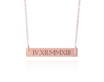 Rose Gold Roman Numeral Bar Necklace, A Personalized Date Necklace, Custom Roman Numeral Necklace