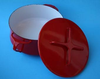 VINTAGE pimento red enamel DANSK brand pot with lid