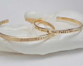 Personalized Flat Cuff Gold Fill Bracelet Personalize Inside and Outside with Six Font Options Polished or Matte Finish